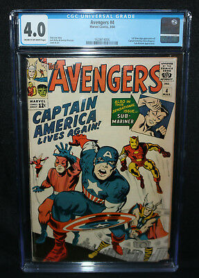 Avengers #4 - 1st Silver Age App of Captain America - CGC Grade 4.0 - 1964