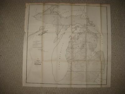 Rare Early Vintage Antique 1852 Michigan Dated Map Northern Peninsula Detailed