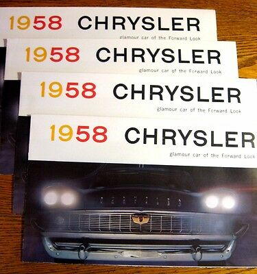 1958 Chrysler Brochure LOT (4) pcs, Windsor Saratoga New Yorker MINT