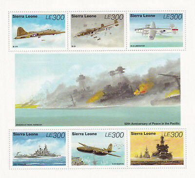 (74459) Sierra Leone MNH WWII Peace in the Pacific minisheet 1995 unmounted mint