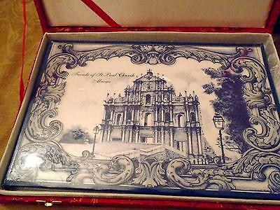 Beautiful Large Blue & White Tile ~ Facade of St. Paul Church ~ Red Brocade Box
