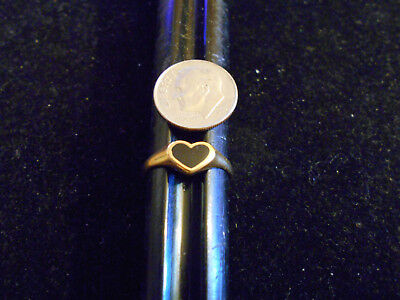 bling gold plated heart black onyx rock FASHION solitaire BAND ring jewelry sz 7