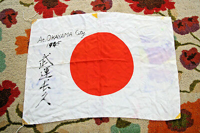 Vintage Original WW2 Imperial Japanese Captured Battle Flag - Okayama City