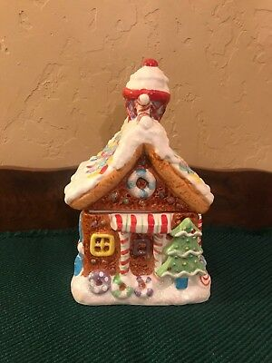 Gingerbread House Ceramic Cookie Jar w/ Ice Cream Cone Chimney Jay Imports