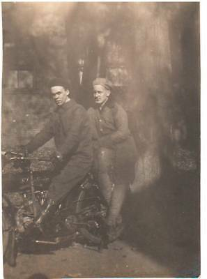 Two Young Men on Vintage INDIAN MOTORCYCLE Photo 2 ¼ x 3 ¼""