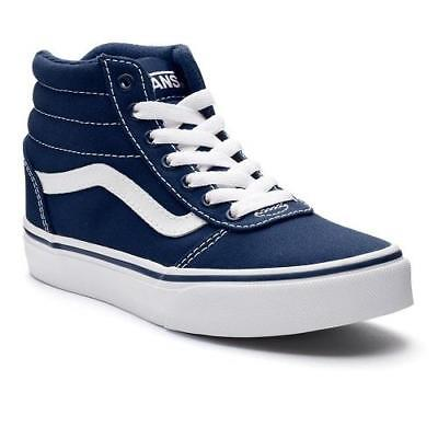 e2c2f6cd9ac9 Boys Youth VANS WARD Navy Blue High Top Athletic Sneakers Skate Casual  Shoes NEW