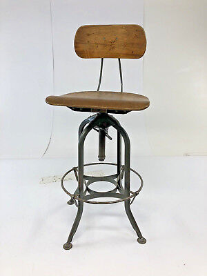 Strange Vintage Industrial Drafting Stool Toledo Uhl Wood Bar Steel Machost Co Dining Chair Design Ideas Machostcouk