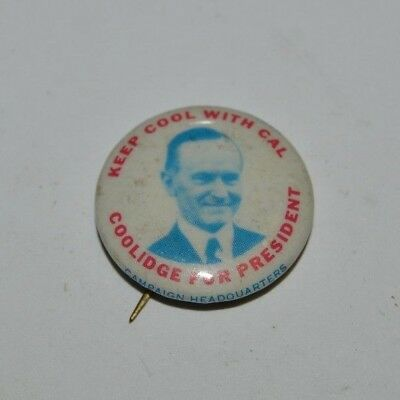 Vintage Keep Cool with Cal Calvin Coolidge Farrell's Ice Cream Parlour Pin Rare