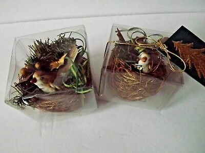 Set Of 2 Legend Of The Birds Nest Christmas Holiday Decoration Sparrow On Nest