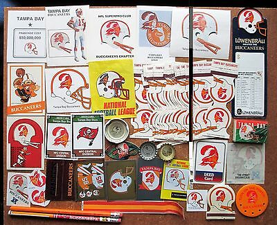 Tampa Bay Bucs collectible team logo lot 49 stickers matchcovers tattoo cards