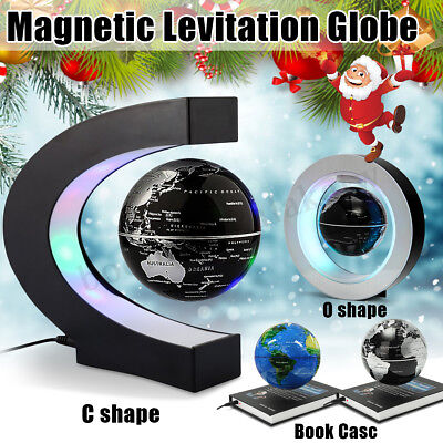 O/C/Book Shape Magnetic Levitating Rotating Earth Globe World Map LED Light Lamp