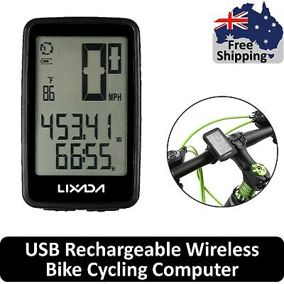 Rechargeable Wireless Bike Cycling Computer Bicycle Speedometer Odometer I5Z4