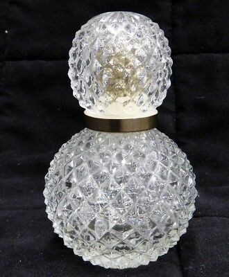 Hobnail Crystal Perfume Spray Bottle Diamond Pattern Round Empty