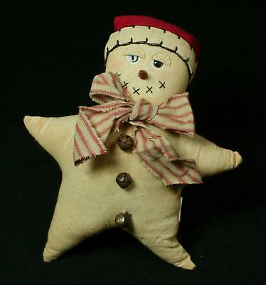 Primitive Folk-Art Plush 5-point Snowman Star