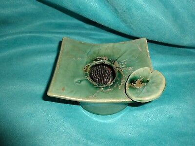 Metal Flower Frog Ceramic Tray  Rectangle Dish/vase Green lily pad Vintage