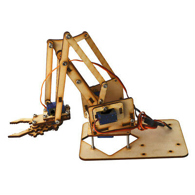 4 DOF Wooden Robotic Mechanical Arm Kit with Servo Motor For Robot Car