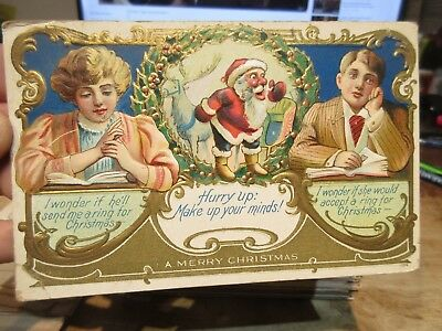 Vintage Old Antique Victorian Era Merry Christmas Postcard Santa Claus Reindeer