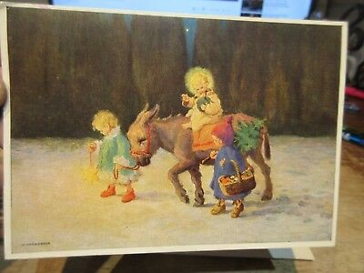 Vintage Old Antique Victorian Era Merry Christmas Postcard German Children Ass