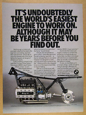 1985 BMW K-Series Motorcycle Compact Drive System engine photo vintage print Ad