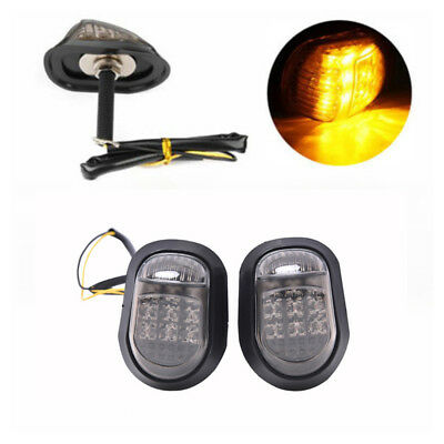2x Motorcycle Flush Mount Turn Signal Indicators Blinker Amber 9 LED Light HU