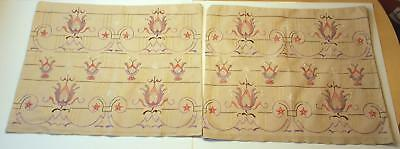 Swedish vintage/antique pair hand-embroidered pillowshams w multi-colored motifs
