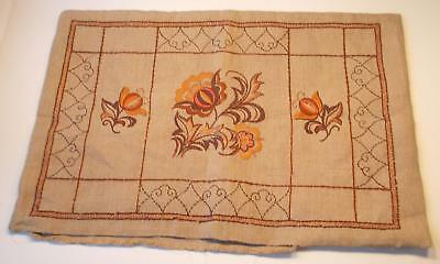 Swedish vintage/antique hand-embroidered large pillowsham w brown/orange motifs