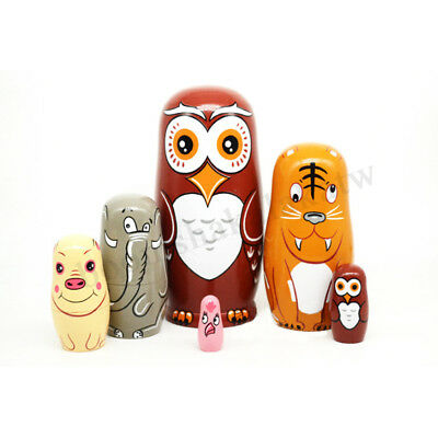 6Pcs Wooden Russian Nesting Christmas Matryoshka Stacking Painted Dolls Toys Set