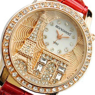 Fashion Women Lady Eiffel Tower Dial Faux Leather Band Quartz Wrist Watch Luxury