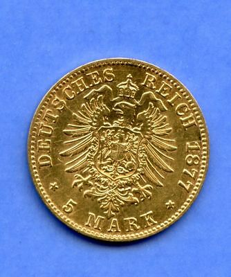 Preussen 5 Mark 1877 Top Stgl rar Gold Wilhelm