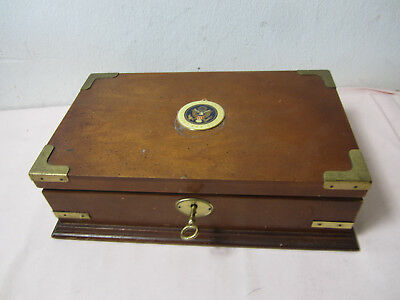 alte Holzschatulle Schmuckkasten Great Seal of the United States H/B10x31cm/S5.0