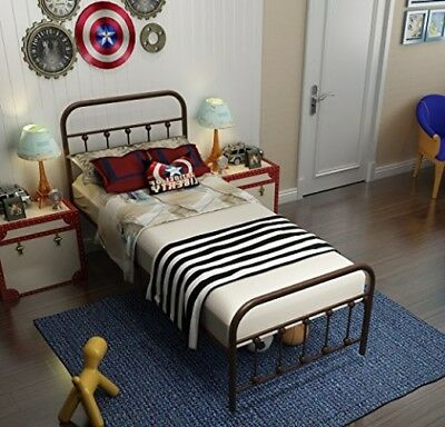 TEMMER Reinforced Metal Bed Frame Twin Size with Headboard and Stable Metal and