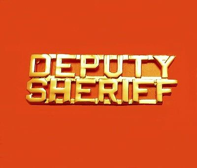 Deputy Sheriff Collar Pin Device Cut Out Letters Set of 2 Gold Plated 2216 New