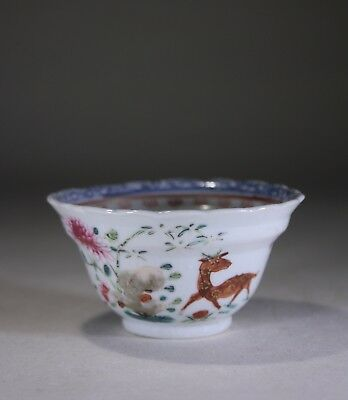 Antique Chinese Porcelain Tea Bowl Deer & Flowers