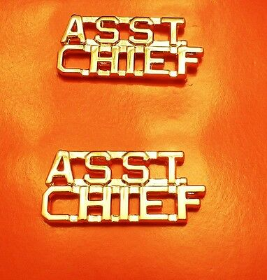 Asst Chief Collar Pin Set Gold Cut Out Letters Fire Dept Police Assistant 2210
