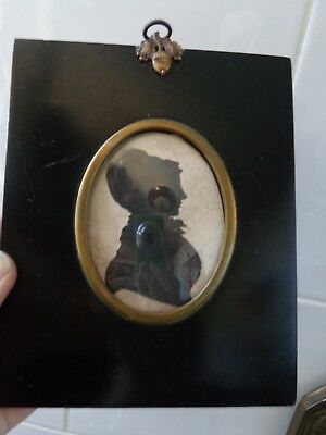 ANTIQUE 19thc 1830's  PORTRAIT  MINIATURE  SILHOUETTE YOUNG LADY BY W. SEVILLE