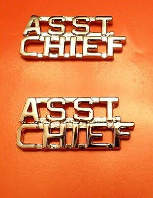Asst Chief Collar Pin Set Cut Out Letters Fire Dept Police Assistant Nickel 2211