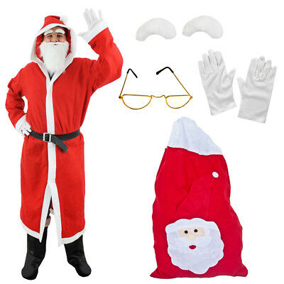 Santa Hooded Coat Mens Father Christmas Fancy Dress Costume Choose Accessories