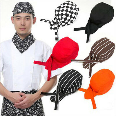 Striped Ribbon Skull Cap Professional Kitchen Catering Cook Chef Hat Novelty