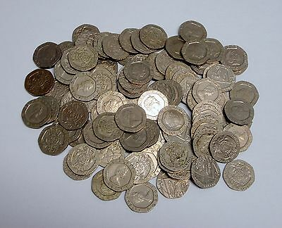 Lot of 50 Circulated, Assorted 20 Pence British Coins