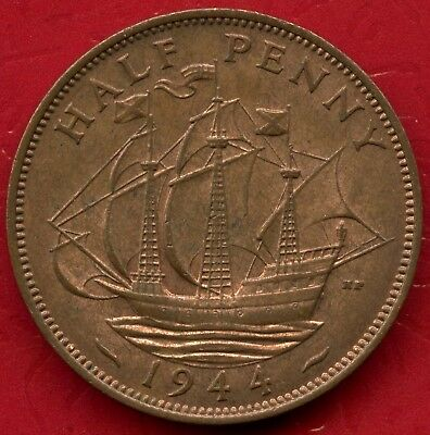 1944 Great Britain Half Penny Coin