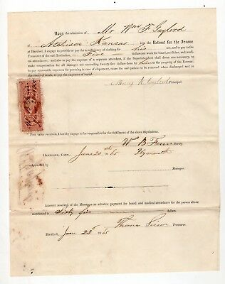 1865 Agreement Pay for Clothing & extra Attendants Patient at Retreat for Insane