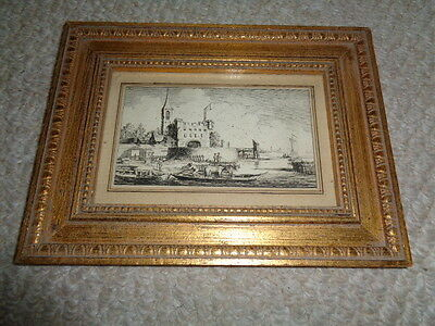 1800's framed etching castle ships lake boat mules clouds birds gold gilt wood