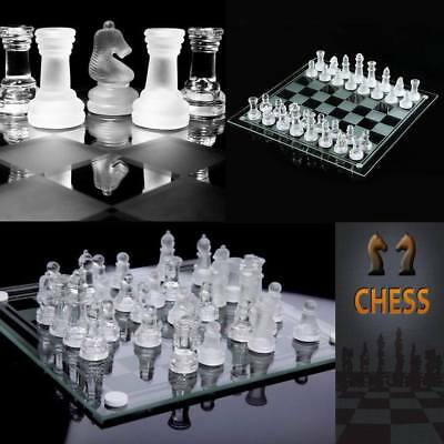 Glass Chess Set Elegant Pieces and Checker Board Game Black White Frosted Chess