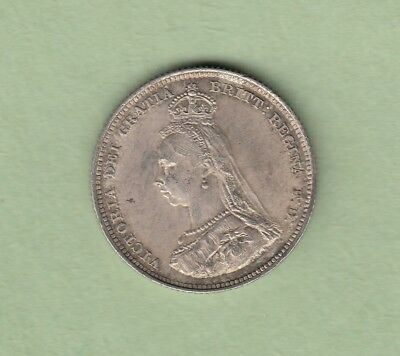 1887 Great Britain One Shilling Silver Coin - EF/AU