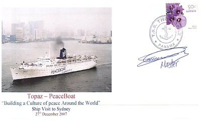 (CS2) Cruise Ship cover - Topaz Peace Boat - Signed by ship Captain (4 of 10)
