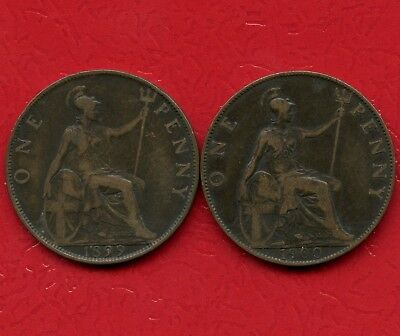 1899 & 1900 Great Britain 1 Penny Coins