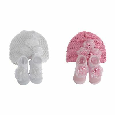 Nursery Time Baby Girls Hat And Booties Gift Set (BABY1417)