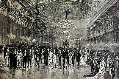 Henry Sandham Montreal Canada - ST. ANDREWS BALL 1878 - Engraving Print Matted