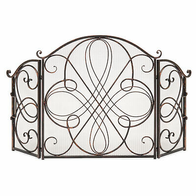 BCP 3-Panel Wrought Iron Metal Fireplace Screen Cover - Black