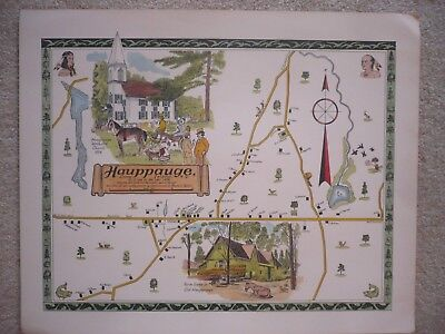 Hauppauge Li Ny Map, As It Was 1870, Done In 1969 Excellent Condition